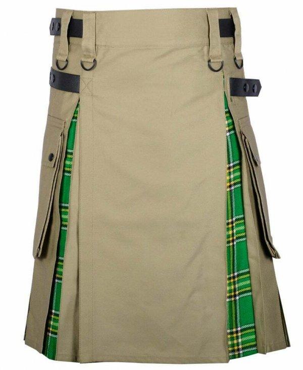 Men's High Quality Hybrid Kilt- Khaki Cotton and Irish Tartan