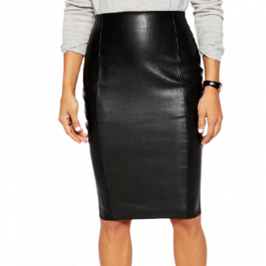 Strict Chic Pencil Skirt in Leather Look with Seam