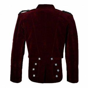 Scottish Burgundy Velvet Prince Charlie Kilt Jacket With Waistcoat