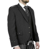 Scottish Tweed Crail Argyle Kilt Jacket With Vest – Black 100% Tweed Wool