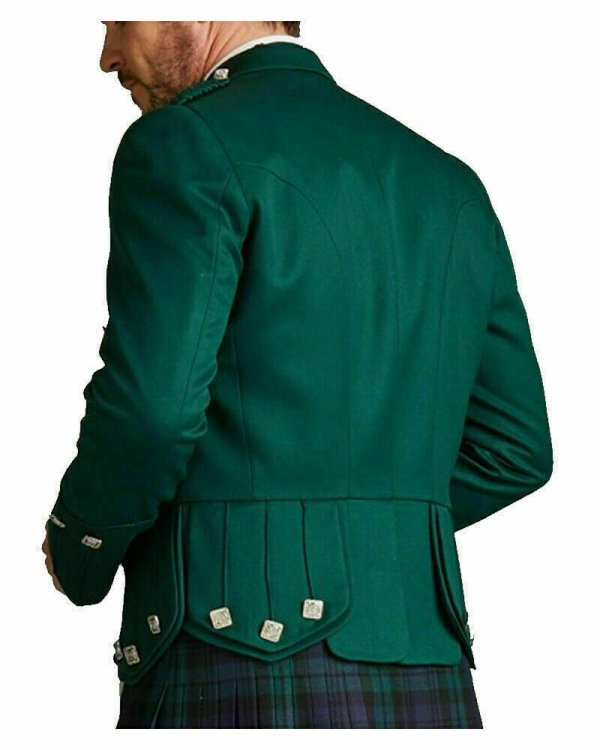 Prince Charlie Green Kilt Jacket Scottish Highland Custom Doublet Piper Jackets