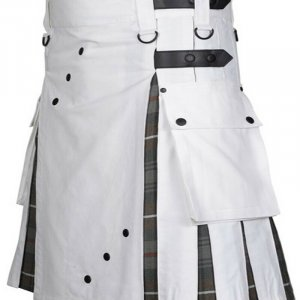 Scottish Fashion Utility Hybrid Kilt For Men White Color With Grey Tartan Pleats