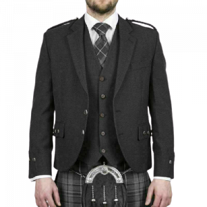 Scottish Tweed Crail Argyle Kilt Jacket With Vest - Gray 100% Tweed Wool