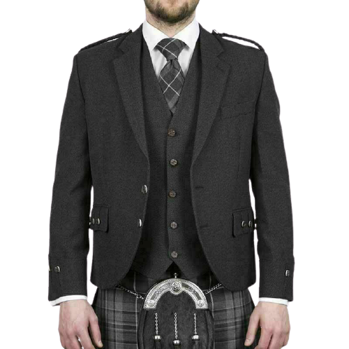 Scottish Tweed Crail Argyle Kilt Jacket With Vest – Gray 100% Tweed Wool