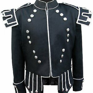 Black Traditional Scots Guards Style Doublet with Castellated Shoulder Shells