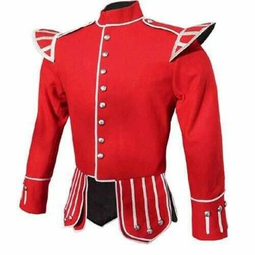 Brand New Military Piper Drummer Doublet Tunic Jacket Red 100% Wool