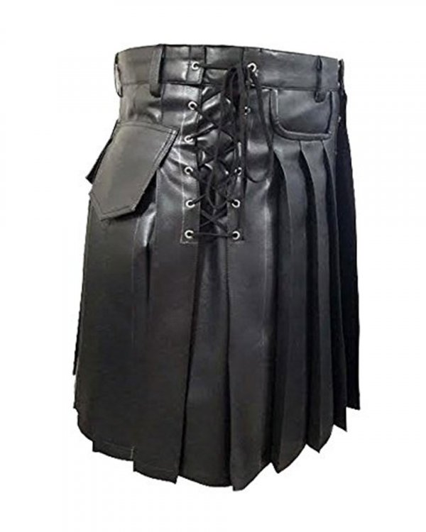 Mens Black Leather Kilt Larp