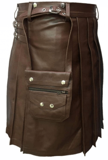 Buy Men Real Brown Leather Kilt With Sporran