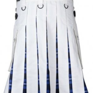 Men's White Cotton Utility Hybrid Kilt - American Patriot Tartan Under Pleats