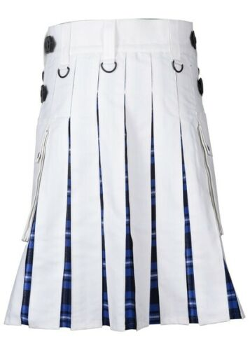 Men's White Cotton Utility Hybrid Kilt – American Patriot Tartan Under Pleats