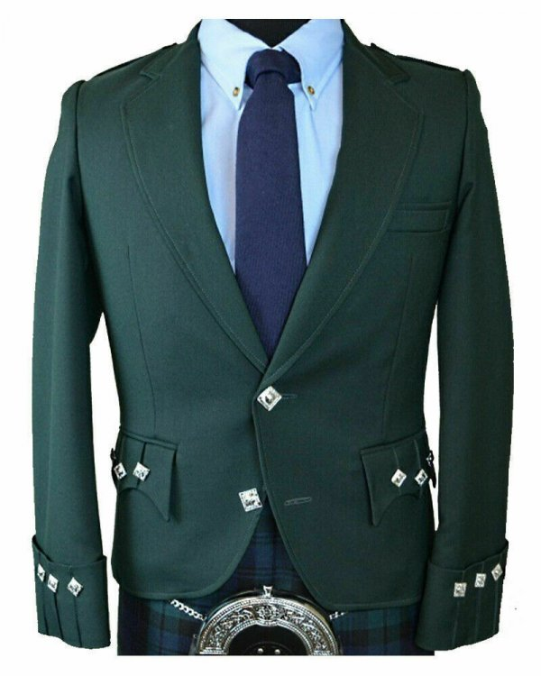Scottish Green Argyle Kilt Jacket 100% Wool – Custom Made Highland Men's Jacket