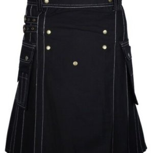 Men's Fashion Cotton Black Utility Kilt with Bespoke Stitching