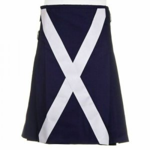 Scottish Flag Utility Kilt Custom Handmade 100% Blue Cotton Kilt For Men