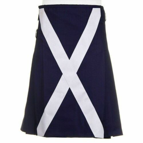 Scottish Flag Utility Kilt Custom Handmade 100% Blue Cotton Kilt For Men