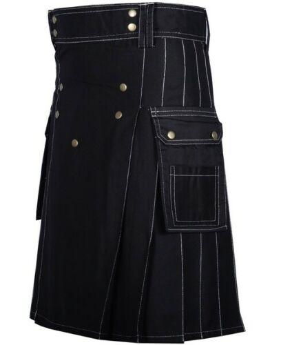 Men's Fashion Cotton Black Utility Kilt with Bespoke Stitching