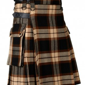 Rose Ancient Tartan Utility Kilt Leather Straps Kilt for Men