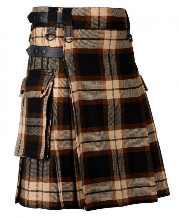 Rose Ancient Tartan Utility Kilt Leather Straps Kilt for Men