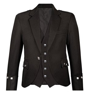 Trendy Black Kilts Argyll Jacket and waistcoat