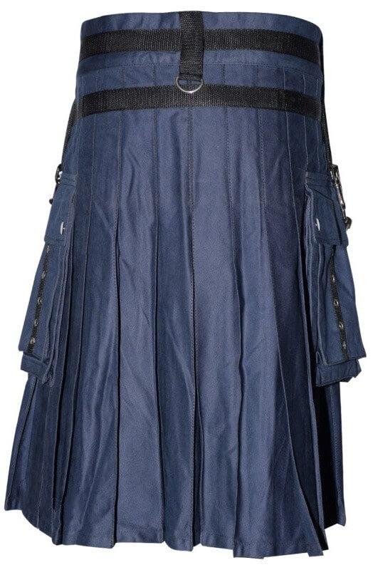 Buy Men Blue Cotton Utility Kilt | Cheap Blue Utility Kilt