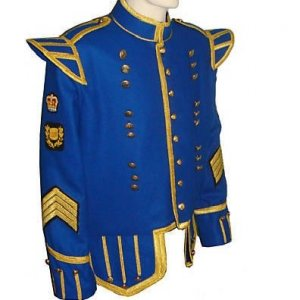 New Blue Pipers Drummers Tunic Doublet Jacket