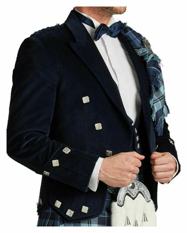 Dark Blue Velvet Scottish Regulation Doublet Kilt Jacket With Vest