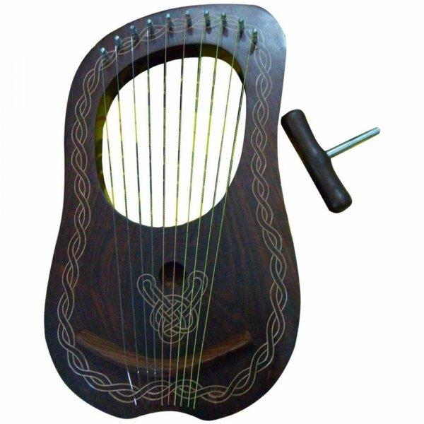 New Lyra Harp Sheesham Wood 10 Metal Strings/Lyre Harp Engraved Carying Case