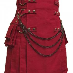 Scottish Men 100% Cotton Deluxe Kilt Maroon