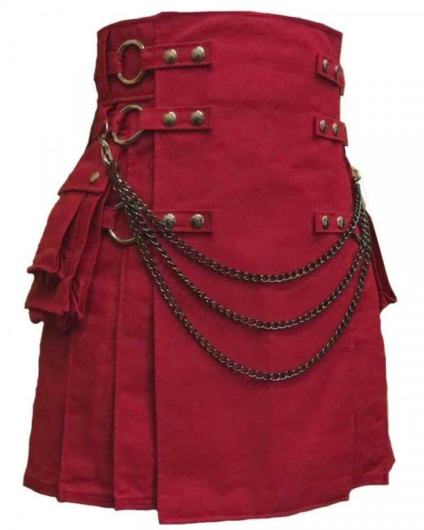 Scottish Men 100% Cotton Deluxe Kilt Maroon