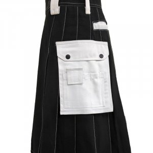 Scottish Men 100% Cotton Carhartt Work kilt Black With White Pockets
