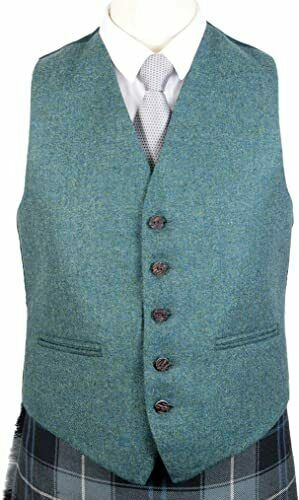 Scottish Lovat Green Argyle Kilt Jacket with Five Button Waistcoat (100% wool )