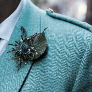 Lovat Blue tweed Argyle Kilt Jacket with Five Button Waistcoat