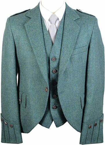 Scottish Lovat Green Argyle Kilt Jacket with Five Button Waistcoat (100% wool )