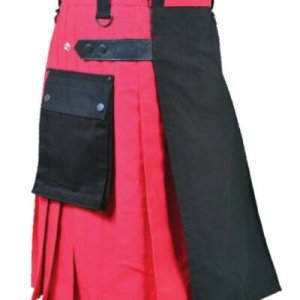 Scottish Men 100% Cotton Utility Kilt Black And Red