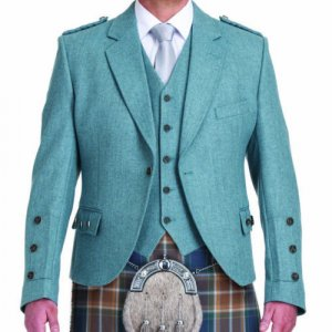 Lovat Blue tweed Argyle Kilt Jacket with Five Button Waistcoat