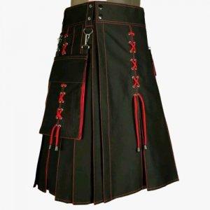 2020 Buy New Kiltish Black & Red Scottish Stunning utility kilt expedited shipping