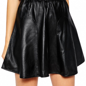 Forever Craze Oracle Skirt in Leather with Flared Hem