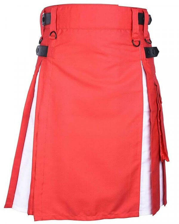 Scottish Men 100% Cotton Hybrid Red and White Kilt