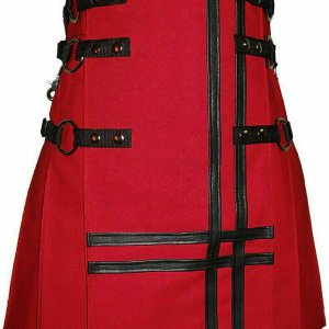 New Stylish Red Cancas 100% Cotton Fashion Utility Kilt Chain