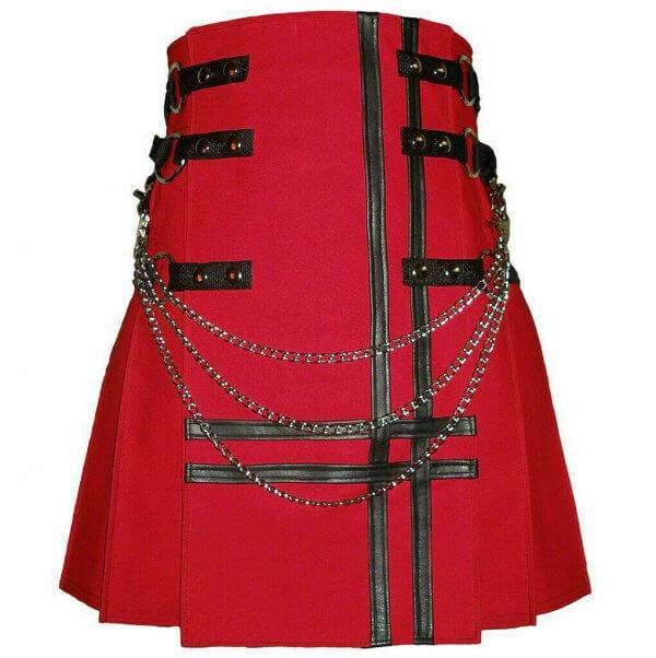 New Stylish Red Cancas 100% Cotton Fashion Utility Kilt Chain