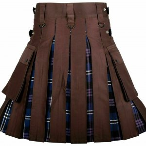 Men's High Quality Hybrid Kilt- Brown Cotton and Heritage of Scotland Tartan