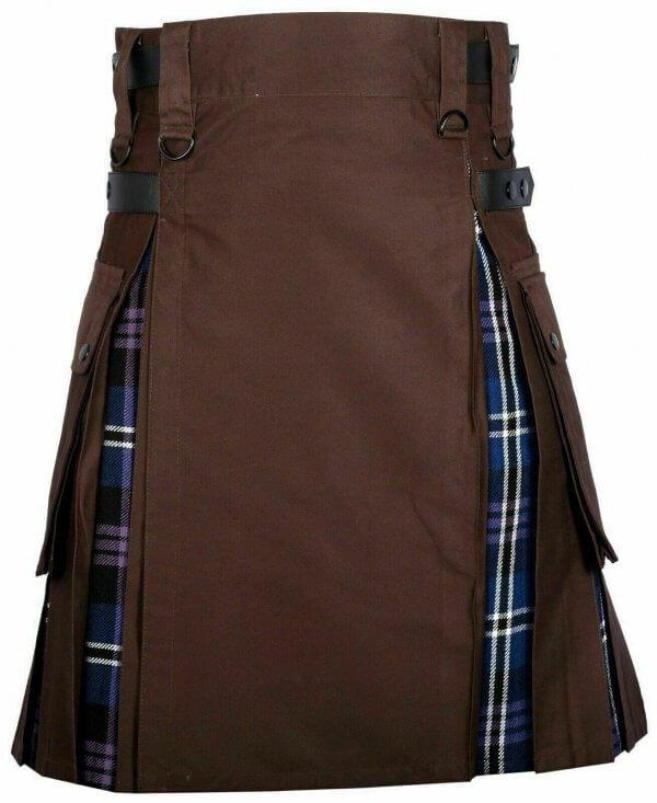 Men's High Quality Hybrid Kilt- Brown Cotton and Heritage of Scotland Tartan