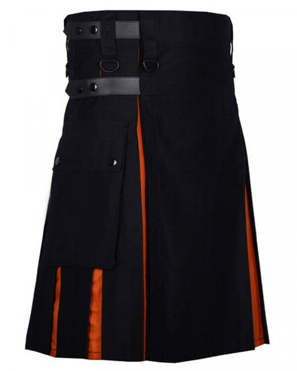 Scottish Men 100% Cotton Fashion Black and Orange Hybrid Kilt Men