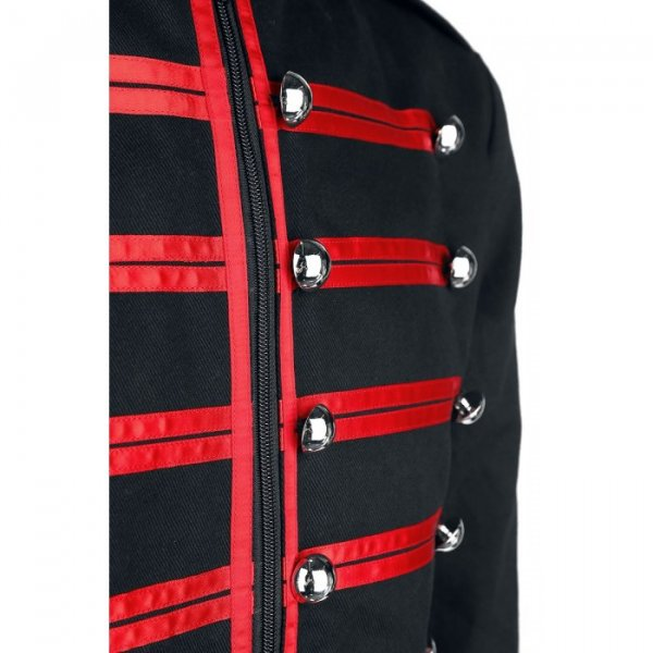 Men Military Jacket Steampunk Red Parade Marching Drummer Jacket