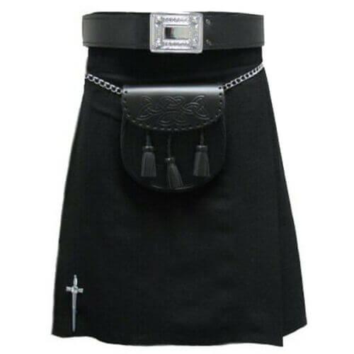 New Traditional Black Tartan kilt Custom Made Leather Strap Scottish Kilts