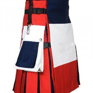 Scottish Men 100% Cotton Utility Kilt French Flag Kilt