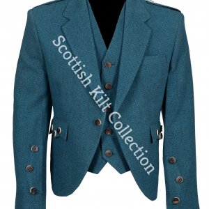 Lovat Blue tweed Argyle Highland Kilt Jacket with Five Button Waistcoat