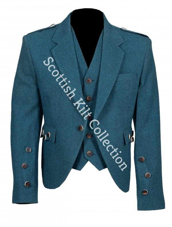 Lovat Blue tweed Argyle Highland Kilt Jacket with Five Button Waistcoat