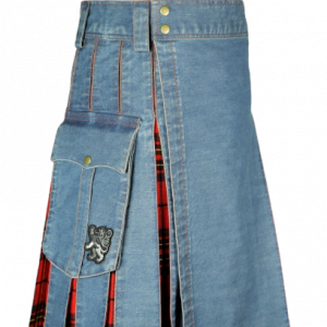 WASHED DENIM TARTAN HYBRID KILT