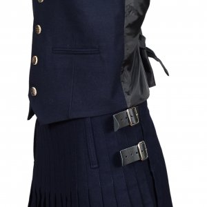 Men's Scottish Navy Blue Wool Argyle Kilt Jacket wedding dress