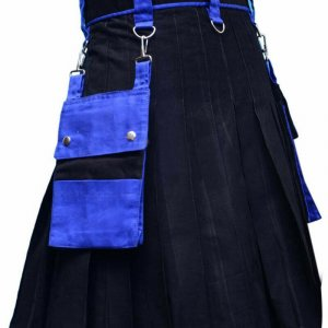 Scottish Men 100% Cotton Fashion Kilt Black
